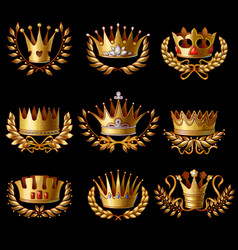 Beautiful gold royal crowns set vector
