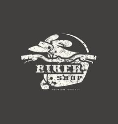 biker shop badge with shabtexture vector image