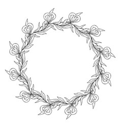 black and white flower wreath vector image
