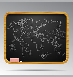 Blackboard isolated with hand drawn world map and vector