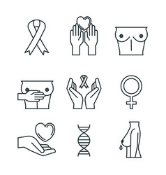 Breast cancer set icons vector