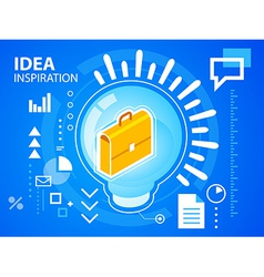 Bright light bulb and work suitcase on blue vector