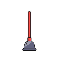 cartoon plunger with red handle vector image