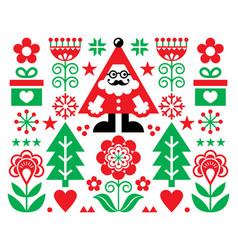christmas santa greeting card design vector image