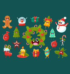 christmas symbols comic characters sett happy new vector image