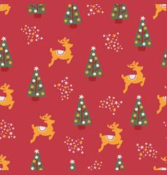 christmas trees reindeer stars seamless repeat vector image