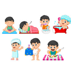 Collection boy doing daily activities vector