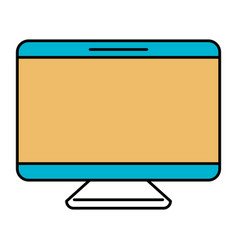 Color sections silhouette of screen monitor vector
