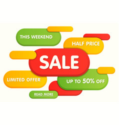 Colorful horizontal sale banner design vector