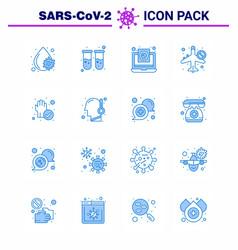Coronavirus awareness icon 16 blue icons icon vector