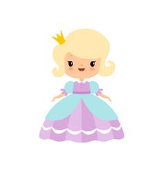 Cute blonde little fairytale princess in beautiful vector