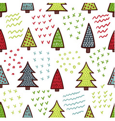 cute christmas trees seamless pattern vector image
