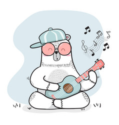 cute doodle white bear plays guitar vector image