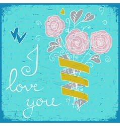 Cute greeting card with bunch of flower ribbon vector