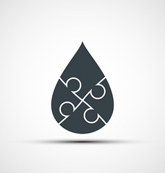 Drop consists of four parts of the puzzle vector image