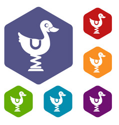 Duck ride in playground icons set vector