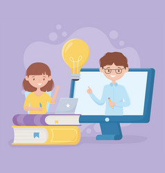 Education online student girl and teacher in class vector