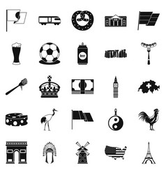 exploring icons set simple style vector image