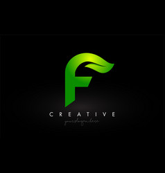 F leaf letter logo icon design in green colors vector