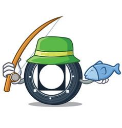 Fishing byteball bytes coin mascot cartoon vector