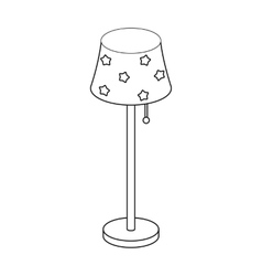 Floor lamp icon in outline style isolated on white vector