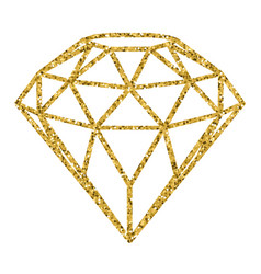 geometrical golden glitter diamond isolated on vector image