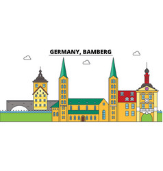 Germany bamberg city skyline architecture vector