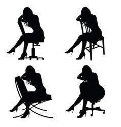 girl silhouette on chair set in black color vector image