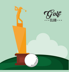 golf club trophy and ball vector image