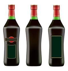 Green bottle red martini vector