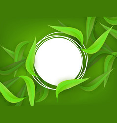 Green leaves frame background template vector