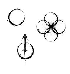 grunge circle symbols vector image