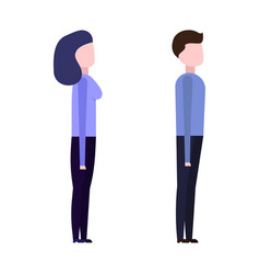 guy and girl view from the side vector image