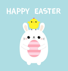 happy easter bunny holding painting egg chicken vector image