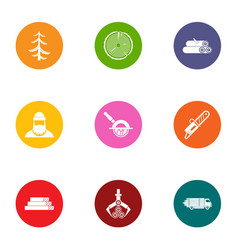 Harvesting wood icons set flat style vector