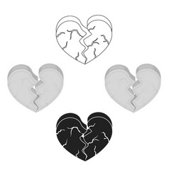 heart icon in cartoonblack style isolated on vector image