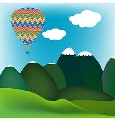 Hot air ballon mountain landscape vector image vector image