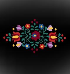 Hungarian folk ornament on black background vector