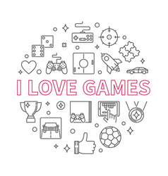i love games round outline vector image
