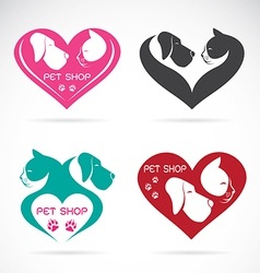 image of an Dog and cat with heart vector image