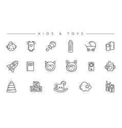 Kids and toys concept line style icons set vector