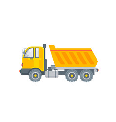 kipper truck side view in flat style vector image