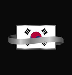 Korea south flag ribbon banner design vector