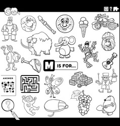 Letter m educational task coloring book page vector