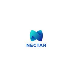 Letter n blue colour 3d creative business logo vector