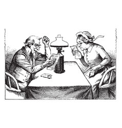 Man and woman reading table sitting vintage vector