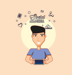 man avatar using smartphone digital social media vector image