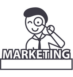 marketingman with magnifying lens line vector image