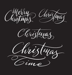 Merry christmas handwriting calligraphy vector