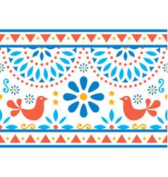 Mexican folk art long seamless pattern vector